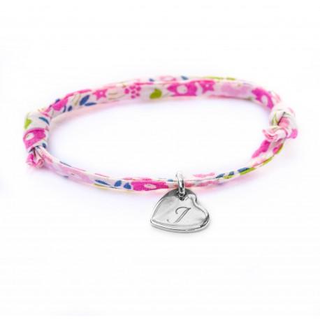 Bracelet mini coeur penché et Liberty - Argent