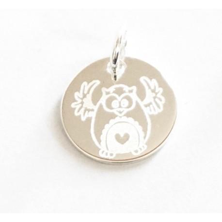 Pendentif gravé renne pour enfant en plaqué or