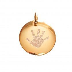 Pendentif rond 20 mm gravé avec une empreinte de main - Plaqué or