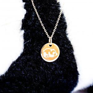 Collier gravé enfant panda plaqué or