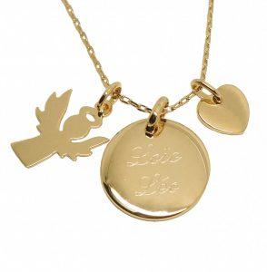 Collier personnalisé ange et coeur en plaqué or