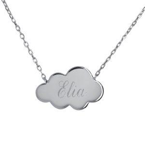 Collier nuage gravé prénom argent