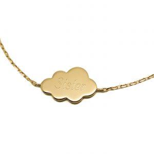 Bracelet nuage gravé prénom plaqué or