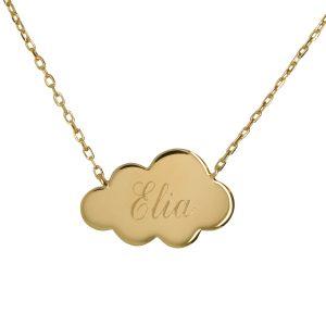 Bijou gravé nuage collier